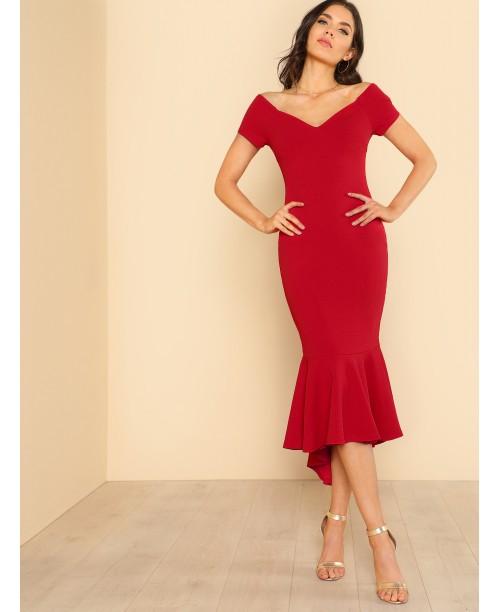 Ruffle Hem V Neck Bardot Dress