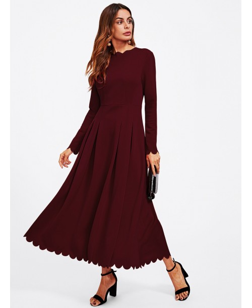 Scallop Edge Boxed Pleated Fit & Flare Dress