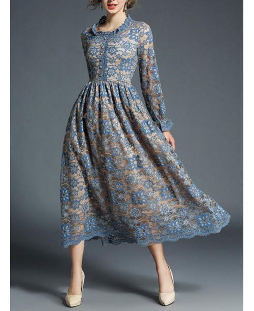 Scallop Trim Button Front Lace Dress