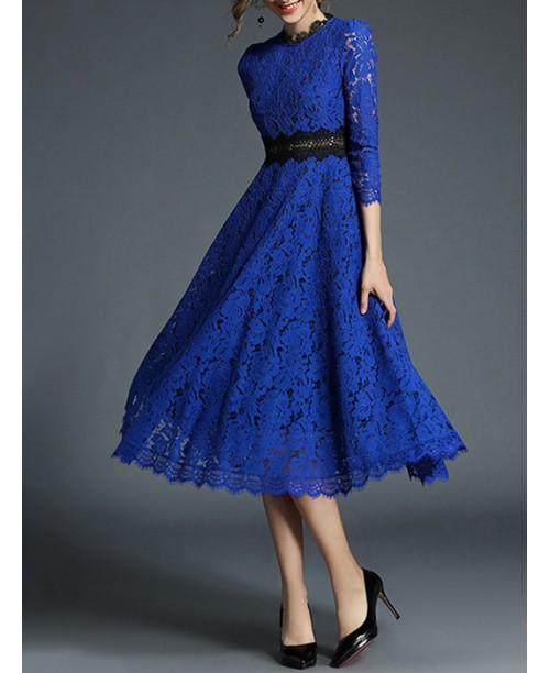Scallop Trim Hollow Out Lace Dress