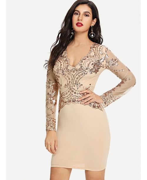 Scalloped Plunge Neck Sequin Embellished Pencil Dress