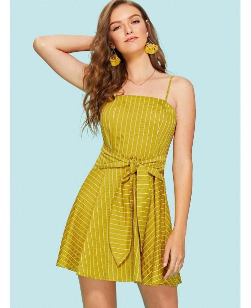 Self Tie Waist Striped Cami Dress