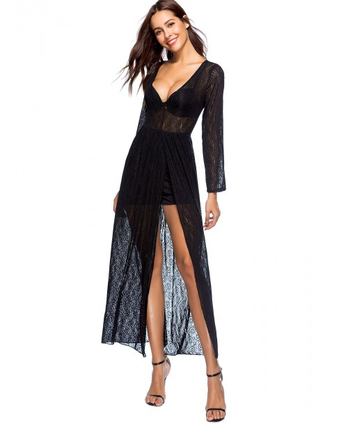 Split Deep V Neck Sheer Dress
