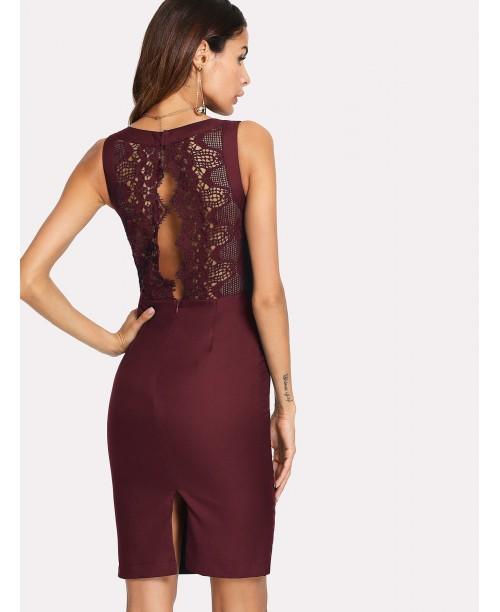 Split Lace Back Pencil Dress