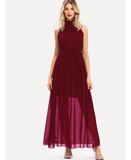 Stand Neck Self Tie Waist Dress