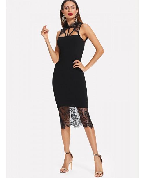 Strap Neck Open Back Lace Trim Dress