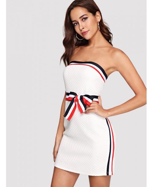 Striped Tie Waist Tube Dress