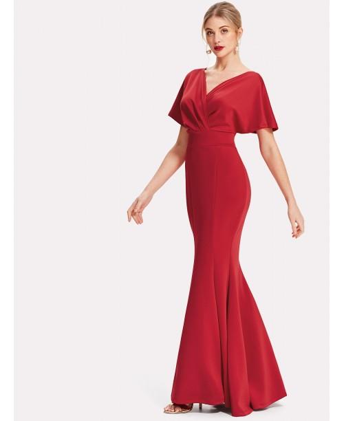 Surplice Neckline Fishtail Hem Dress