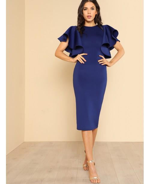 Symmetrical Flounce Shoulder Form Fitting Dress