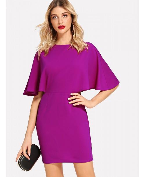 V Cut Out Back Batwing Sleeve Dress