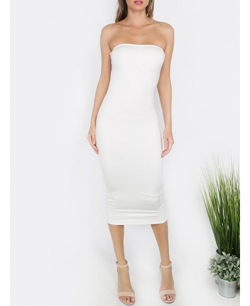 White Bandeau Sheath Basic Dress