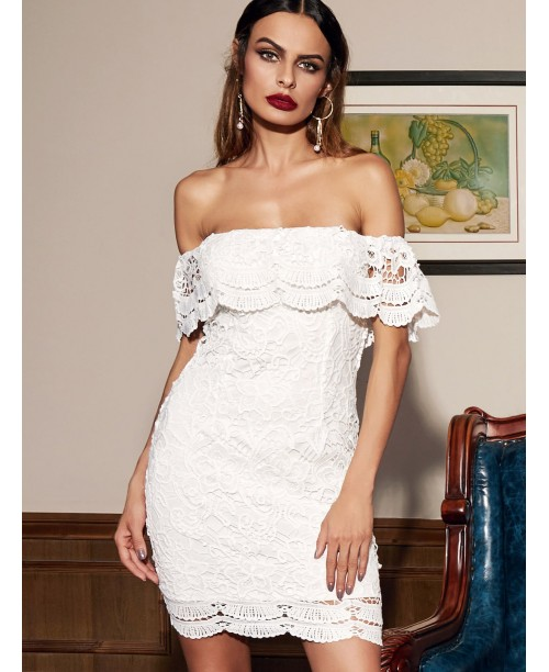 White Straight Across Lace Ruffle Bodycon Dress