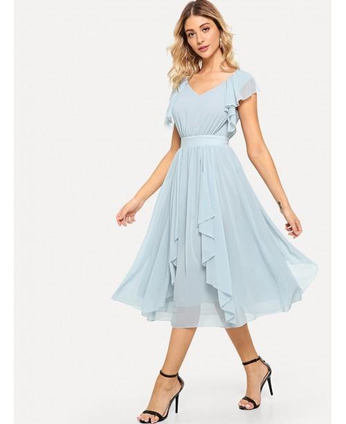 Wide Waist Solid Ruffle Dress