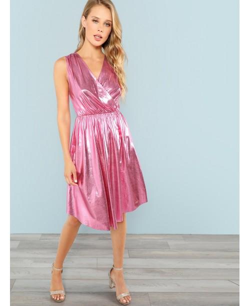 Wrap Front Metallic Dress