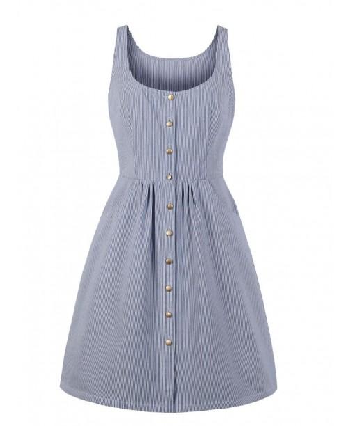 50s Striped Button Through Dress