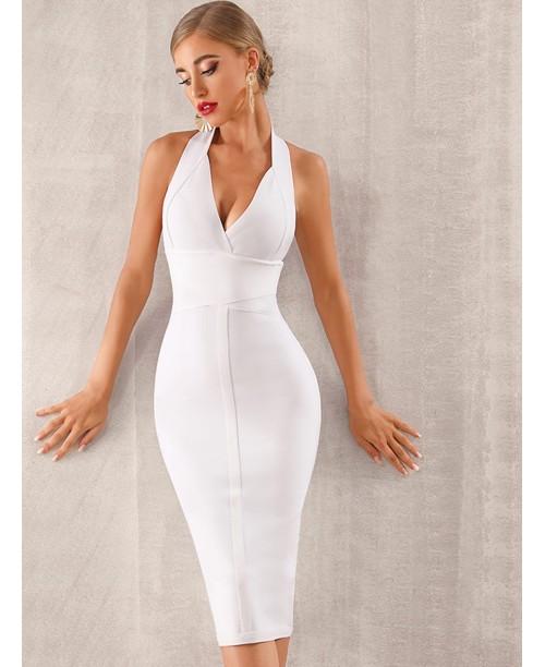 Adyce Backless Zip Back Halter Bandage Dress