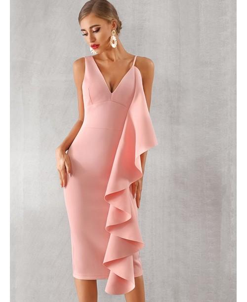 Adyce Exaggerated Ruffle Trim Split Hem Dress
