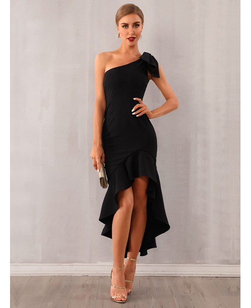 Adyce One Shoulder High low Ruffle Hem Knotted Dress