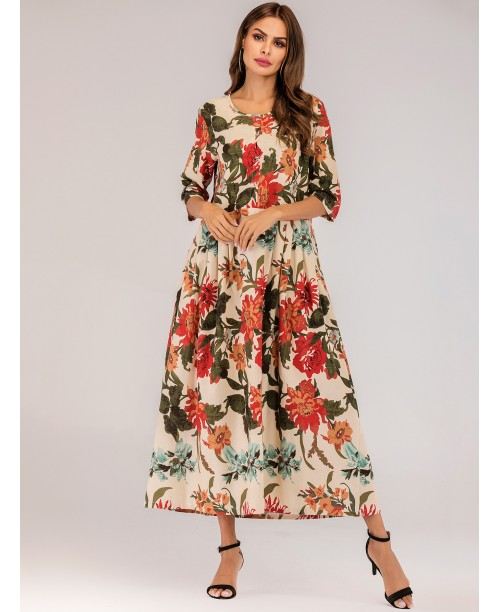 Allover Floral Pleated Longline Dress