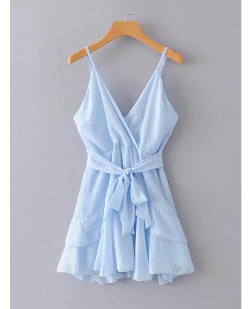 Asymmetrical Hem Surplice Front Zipper Cami Dress