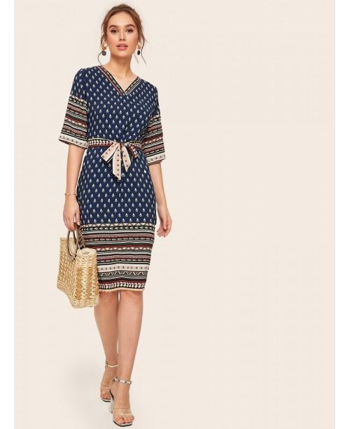 Aztec Print V-neck Self Tie Dress