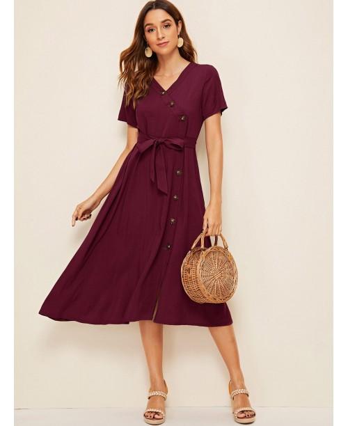 Button Front Belted Shirt Dress
