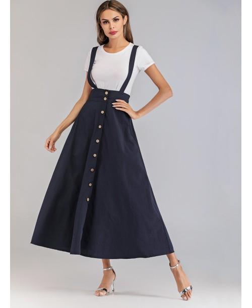 Button Front Criss Cross Back Dress