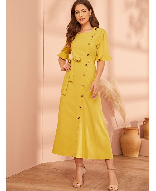 Button Front Flounce Sleeve Belted Dress