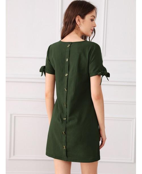 Button Through Back Knot Cuff Dress