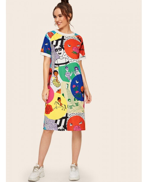 Cartoon & Letter Print Tee Dress