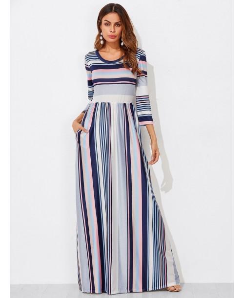 Colorblock Stripe Smock Maxi Dress