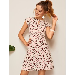 Confetti Heart Print Keyhole Dress