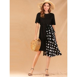 Contrast Polka Dot Tiered Layer Belted Dress