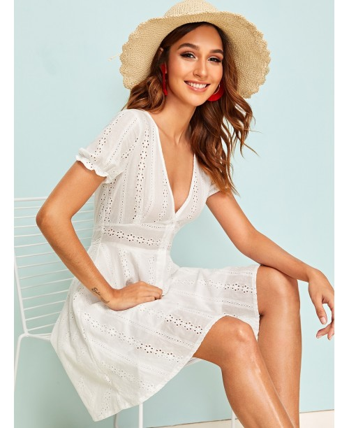Eyelet Embroidery Button Front Dress