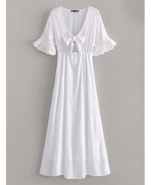 Eyelet Embroidery Tie Front Fit And Flare Dress