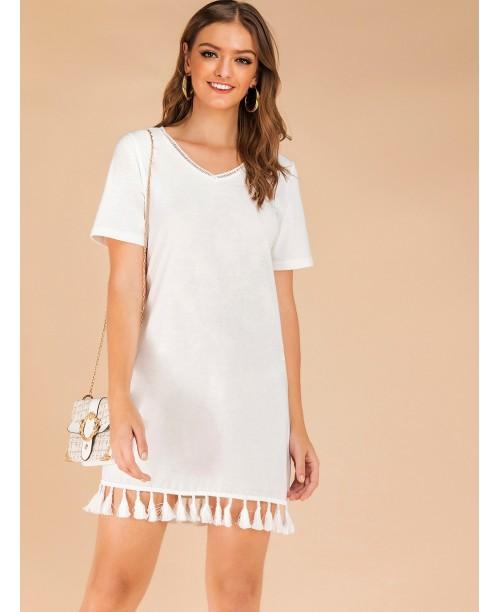 Fringe Hem V-neck Solid Tee Dress