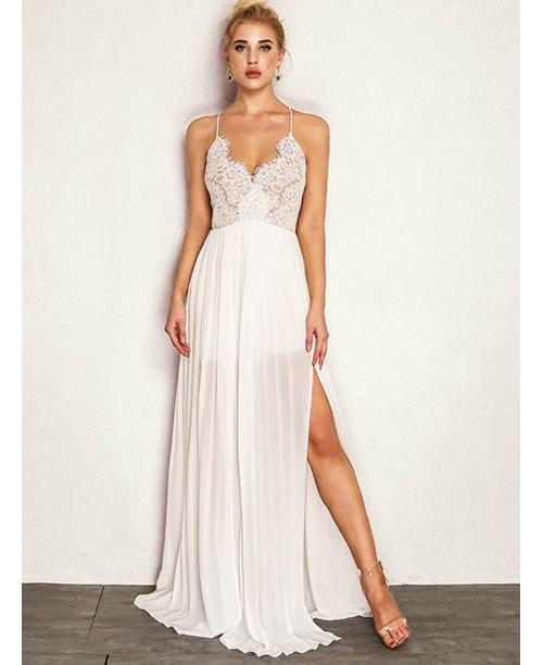 Joyfunear M-slit Front Floral Lace Applique Cami Dress