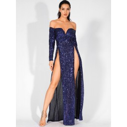 LOVE&LEMONADE Split Thigh Bardot V-bar Sequin Maxi Dress