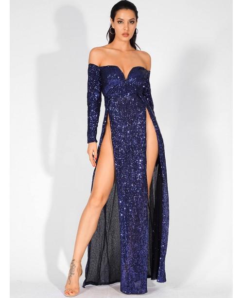 LOVE&LEMONADE Split Thigh Bardot V-bar Sequin Maxi Dress