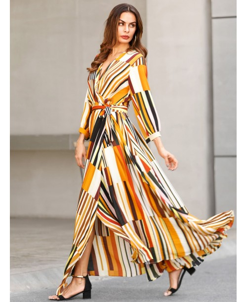 Mixed Striped Belted Wrap Split Dress