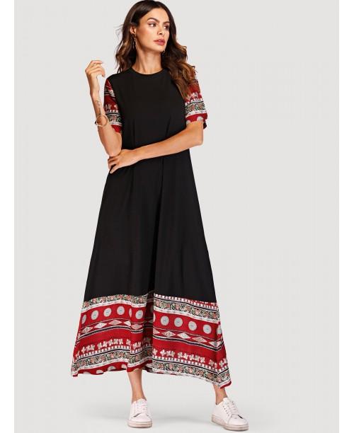 Contrast Geo Print Maxi Dress