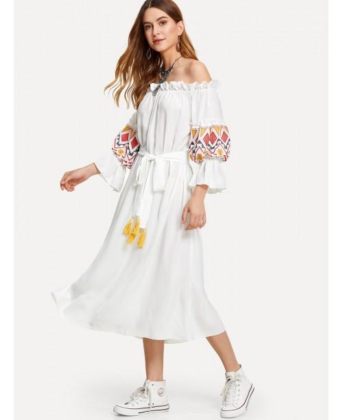 Embroidered Lantern Sleeve Bardot Dress with Tassel Belt