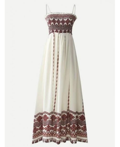 Frill Trim Shirred Detail Cami Dress