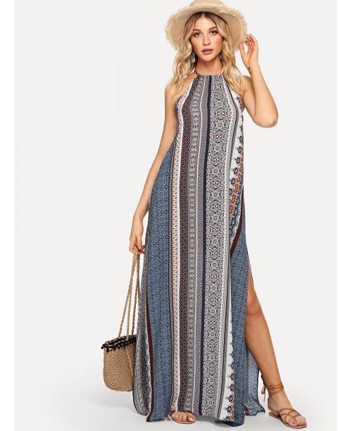 Geo Print Open Back Split Halter Dress