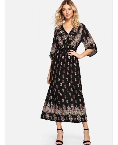 Geo Print V Neckline Dress