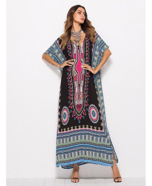 Ornate Print Kaftan Dress