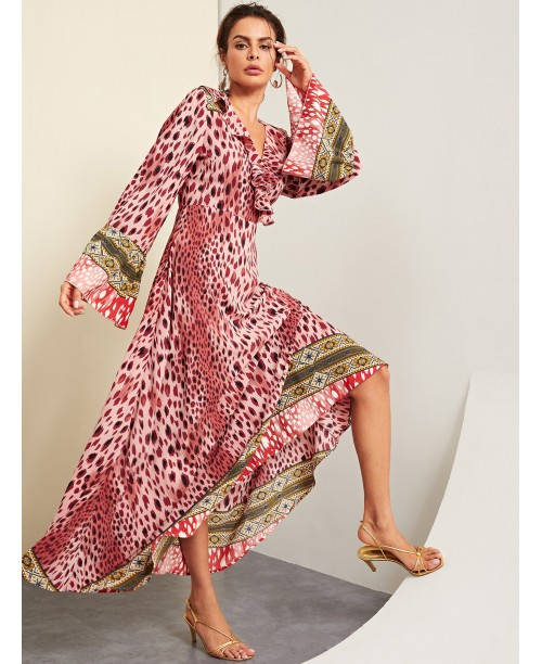 Ruffle Detail Wrap Leopard Print Dress