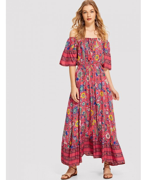 Tassel Tie Flower Print Bardot Dress